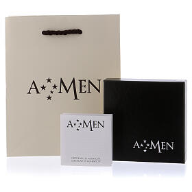 Anel AMEN aberto cruz e zircões prata 925 s4