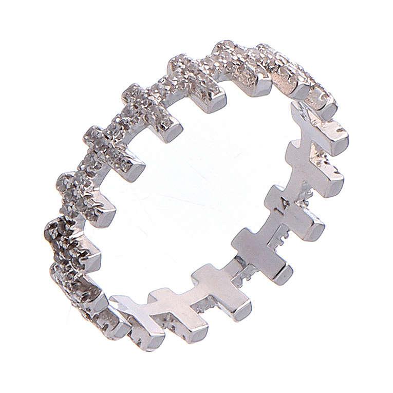 Anillo AMEN cruces y zircones blancos plata 925 3