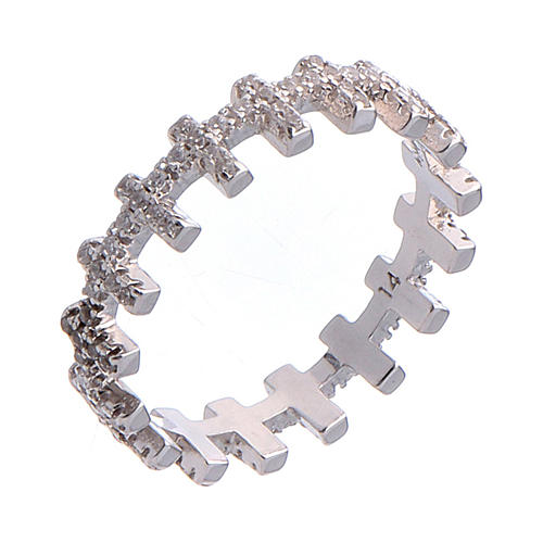 Anillo AMEN cruces y zircones blancos plata 925 1