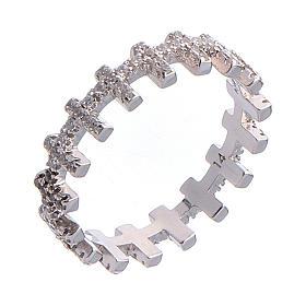 Anello AMEN croci e zirconi bianchi argento 925 s1