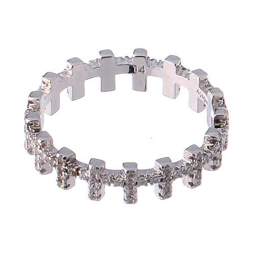 Anello AMEN croci e zirconi bianchi argento 925 2