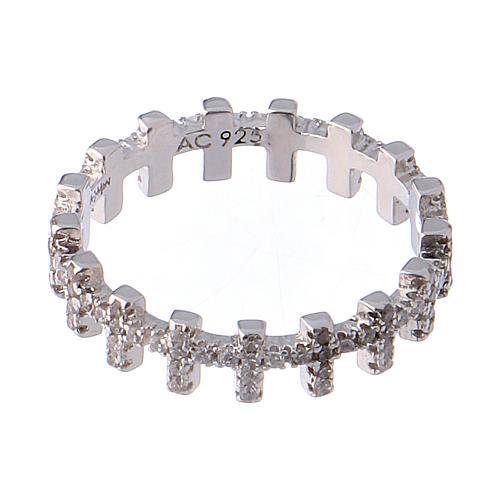Anello AMEN croci e zirconi bianchi argento 925 3