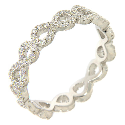 Anillo AMEN infinito y zircones blancos plata 925 1
