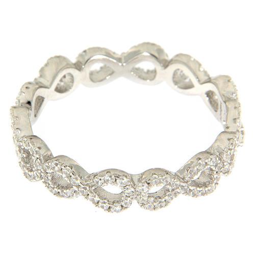 Anillo AMEN infinito y zircones blancos plata 925 2