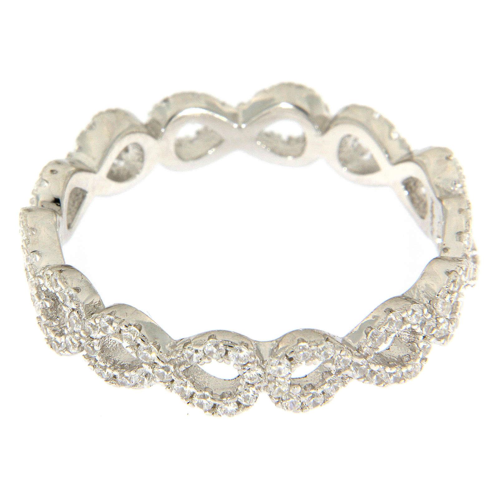 Anello AMEN infinito e zirconi bianchi argento 925 3