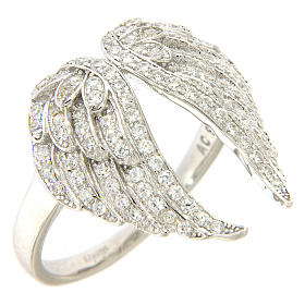 AMEN ring with wings in 925 silver with rhinestones s1
