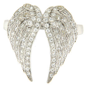 AMEN ring with wings in 925 silver with rhinestones s2