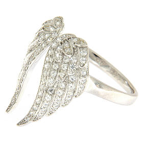 AMEN ring with wings in 925 silver with rhinestones s3