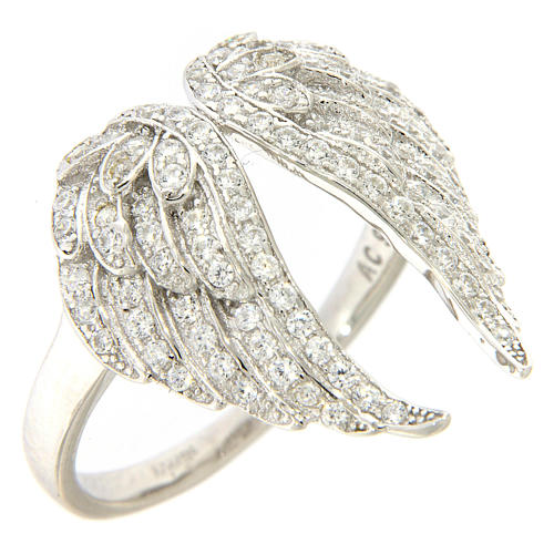 AMEN ring with wings in 925 silver with rhinestones 1