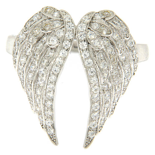 AMEN ring with wings in 925 silver with rhinestones 2