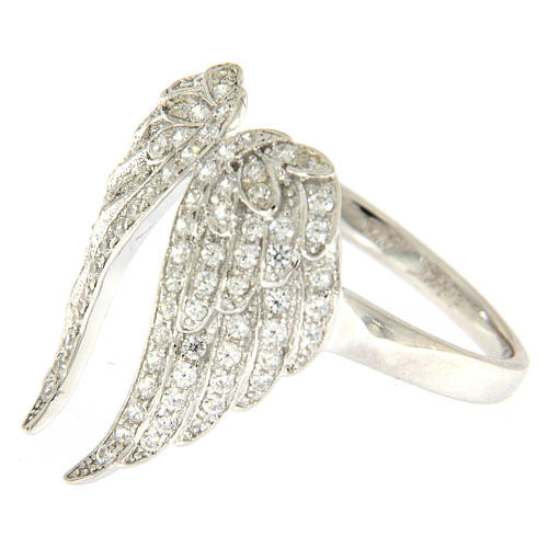 AMEN ring with wings in 925 silver with rhinestones 3
