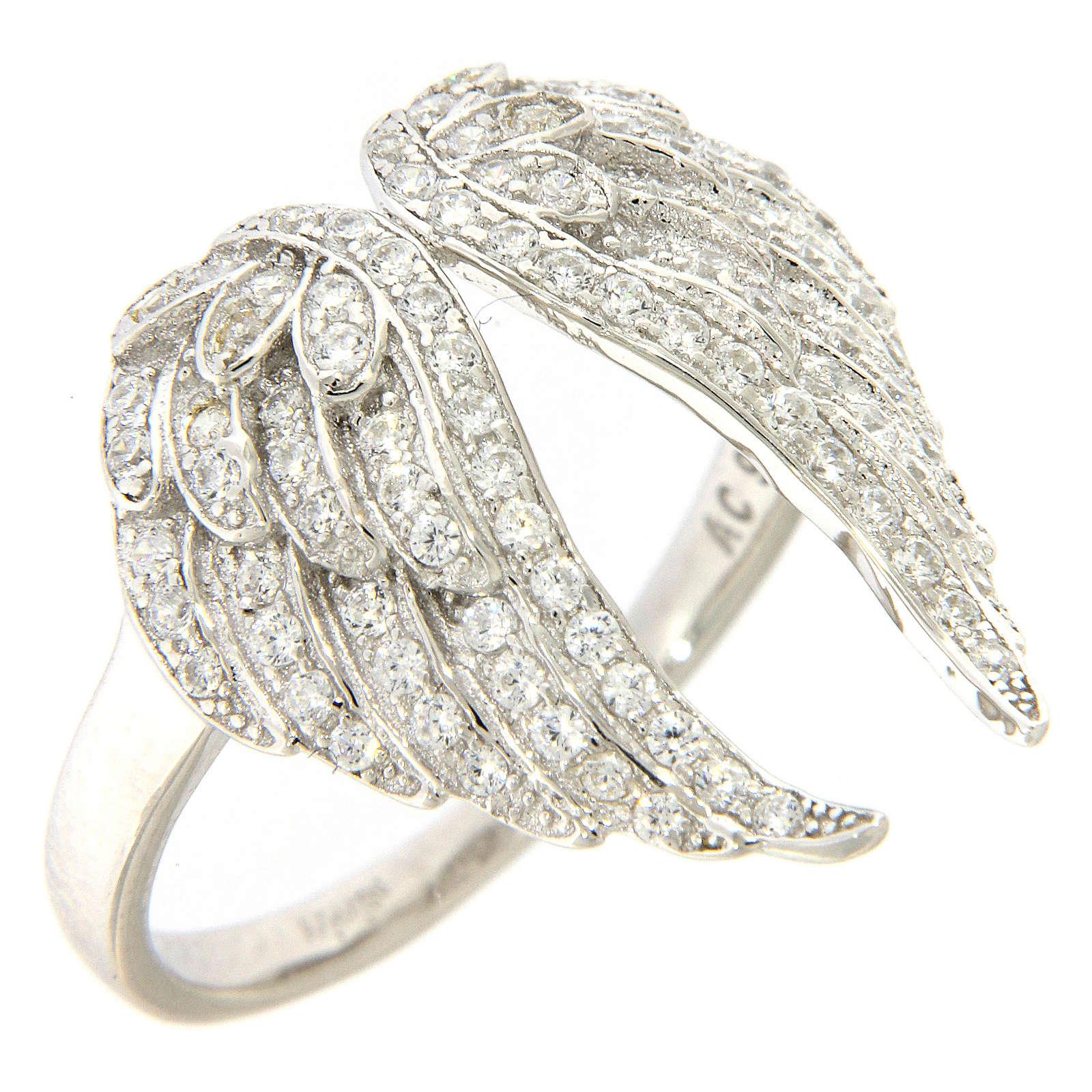 Anello AMEN ali e zirconi argento 925 3