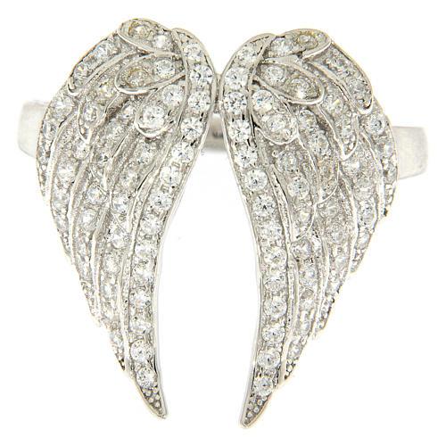 Anello AMEN ali e zirconi argento 925 2