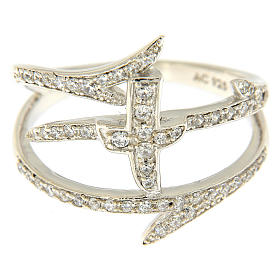 AMEN ring with crosses and thorns in 925 silver with rhinestones s2