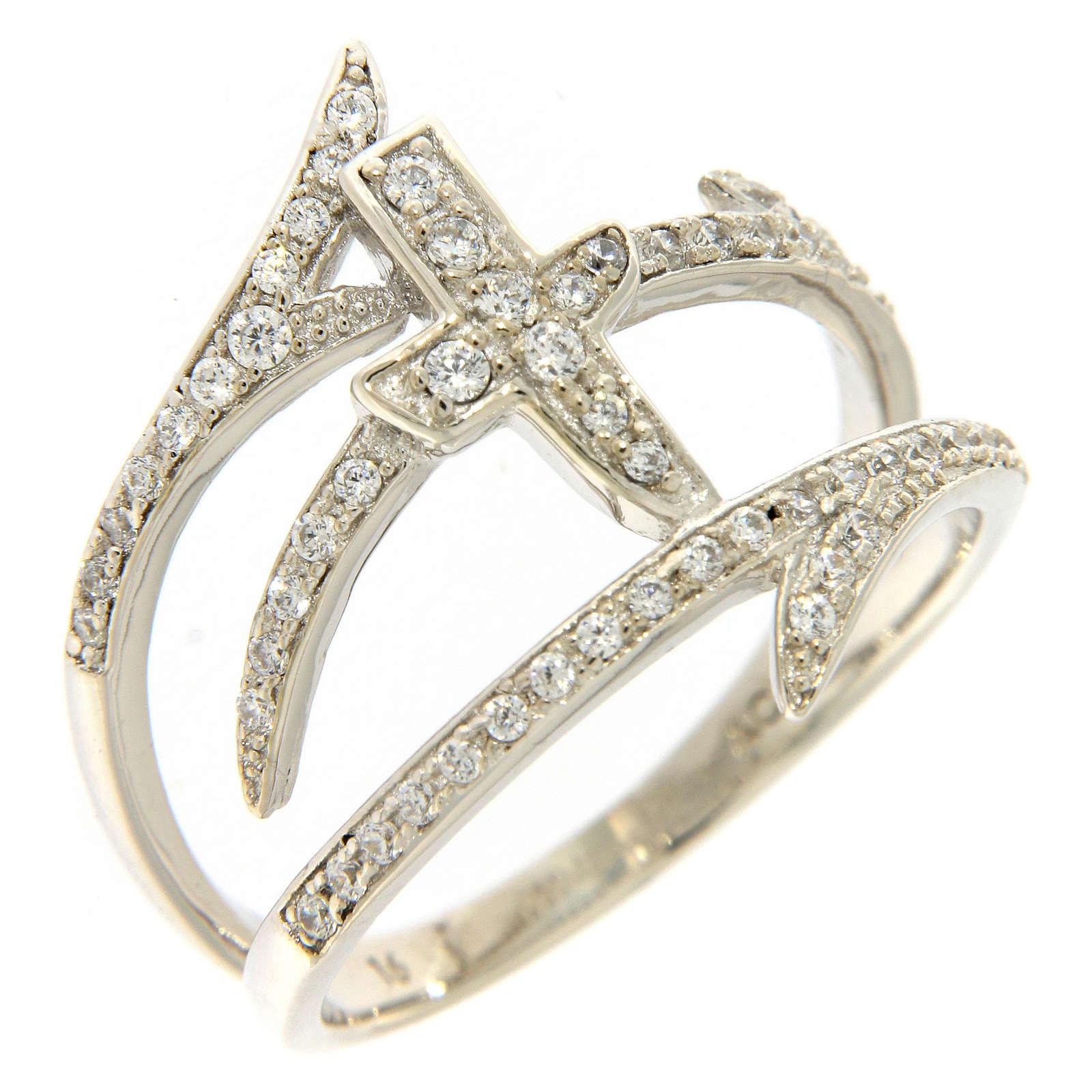 Anello AMEN croce e spine con zirconi argento 925 3