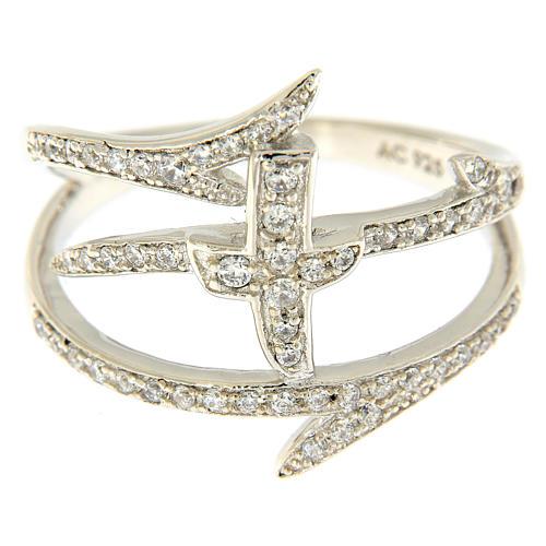 Anello AMEN croce e spine con zirconi argento 925 2