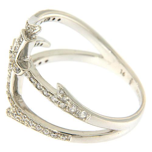 Anello AMEN croce e spine con zirconi argento 925 4