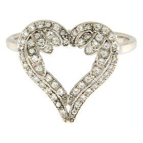 Anello AMEN ali a forma di cuore arg 925 e zirconi s3