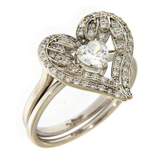 Anello AMEN ali a forma di cuore arg 925 e zirconi 1