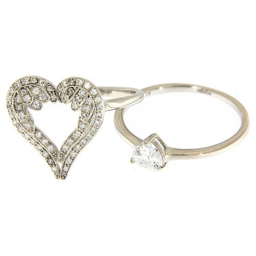 Anello AMEN ali a forma di cuore arg 925 e zirconi 2