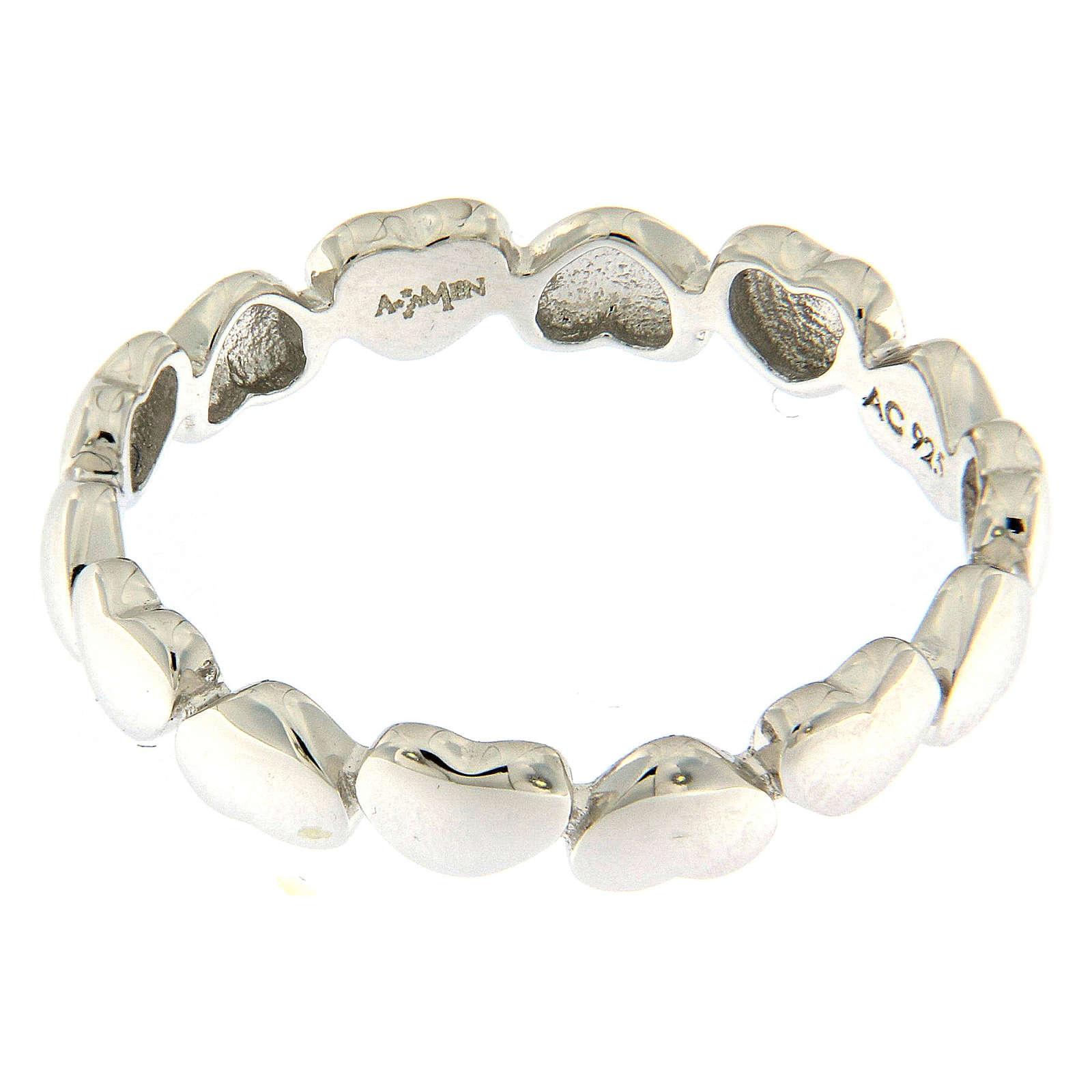 Anello AMEN cuoricini argento 925 3