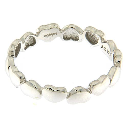 Anello AMEN cuoricini argento 925 2