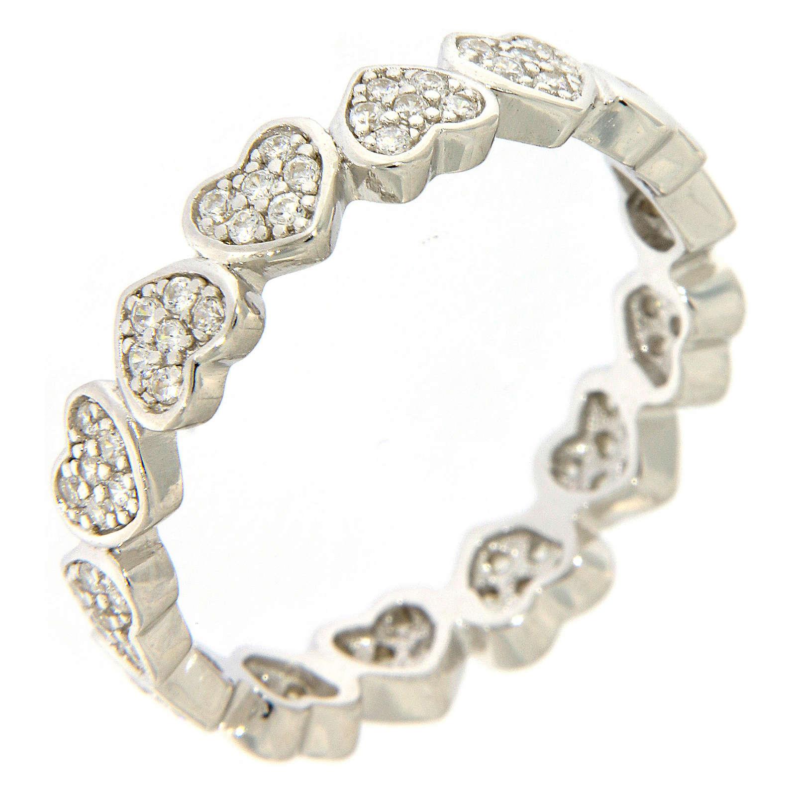 Anillo AMEN corazoncitos y zircones plata 925 3