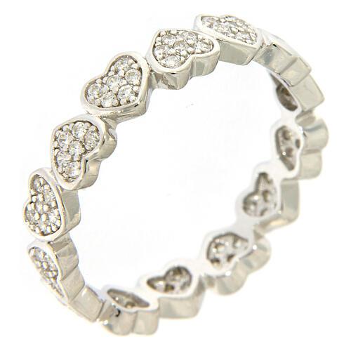 Anel AMEN corações e zircões prata 925 1