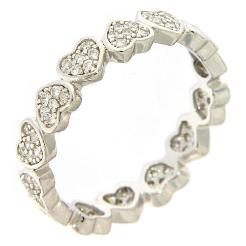 Ring AMEN heart and zircons 925 silver 1