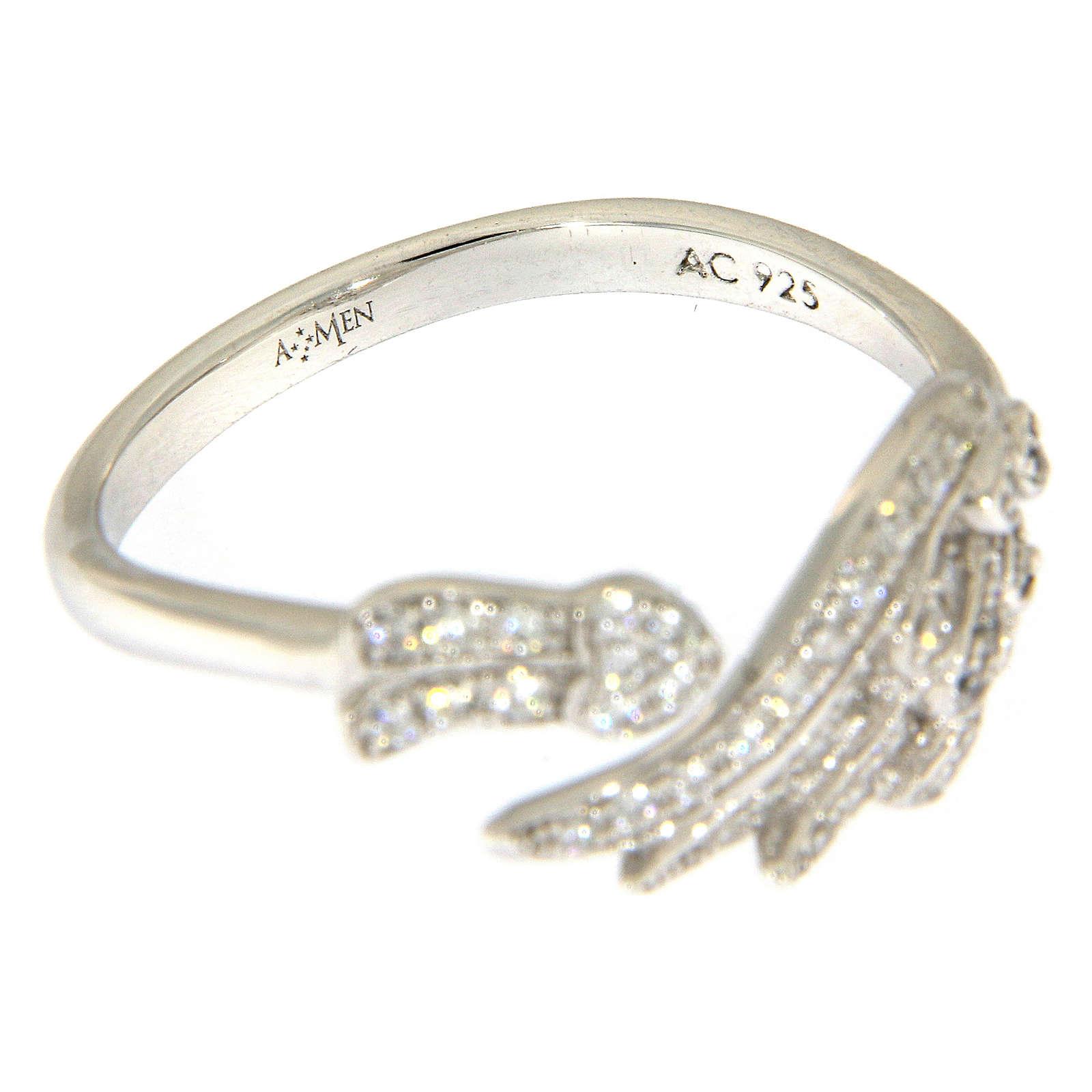 Anello AMEN ala argento 925 e zirconi bianchi 3