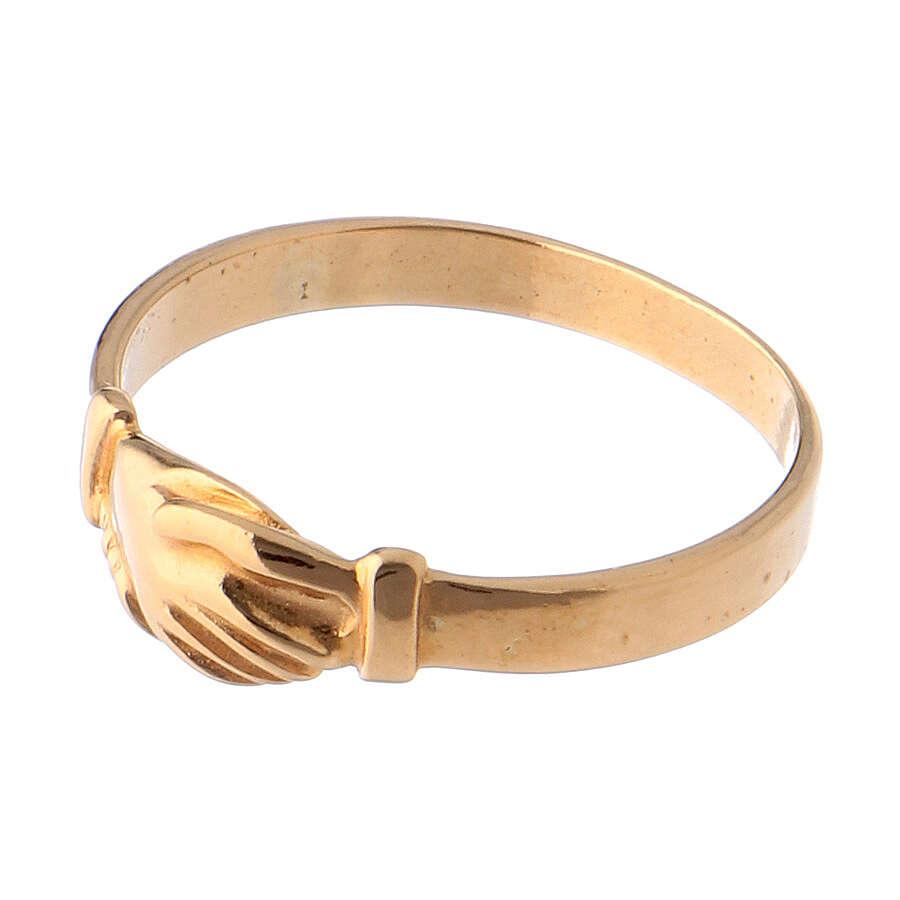 Anel Santa Rita prata 800 cor ouro 3