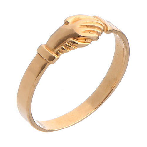 Anel Santa Rita prata 800 cor ouro 1