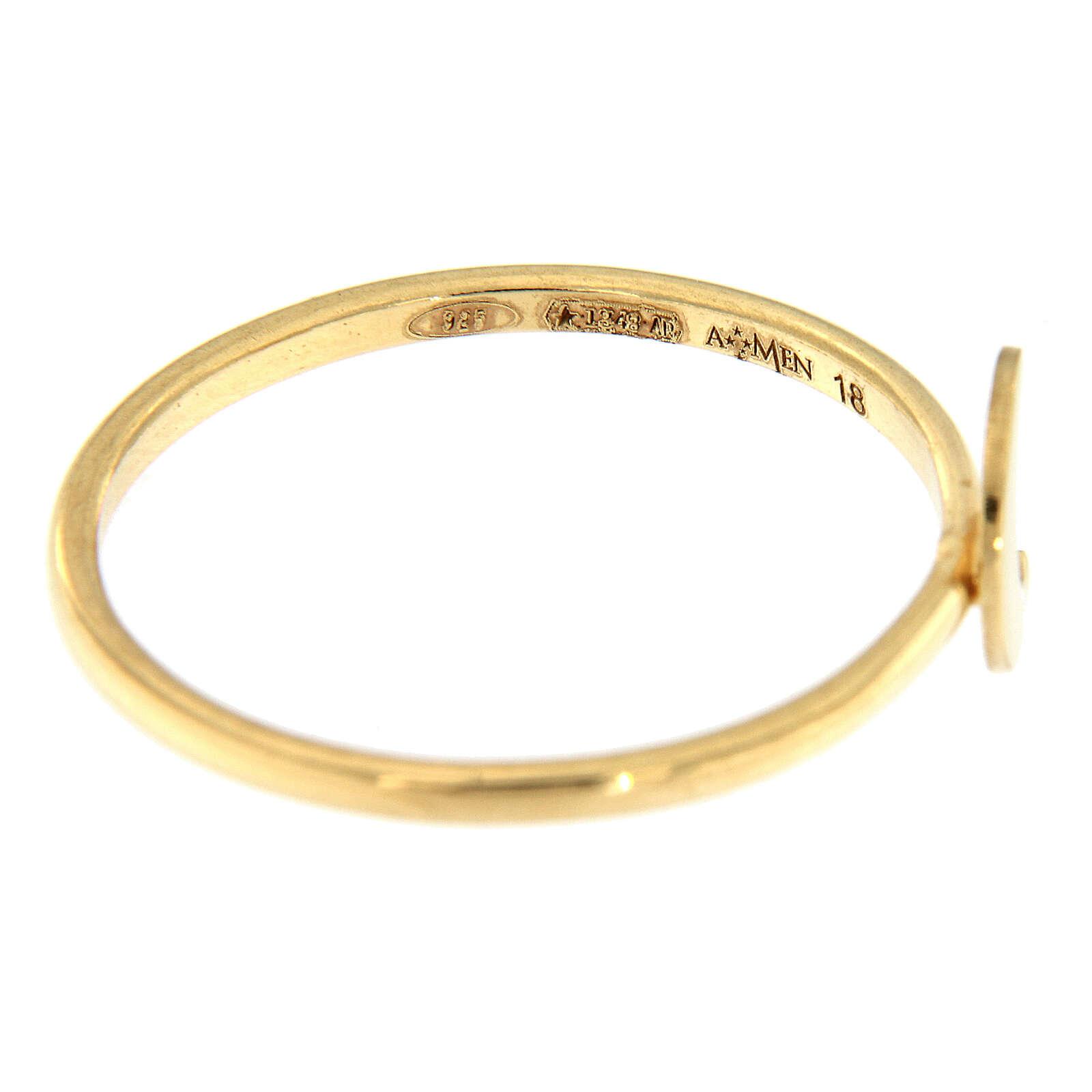 Ring AMEN vergoldeten Silber 925 Halbmond 3