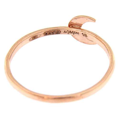 Ring AMEN rosa Silber 925 Halbmond 3