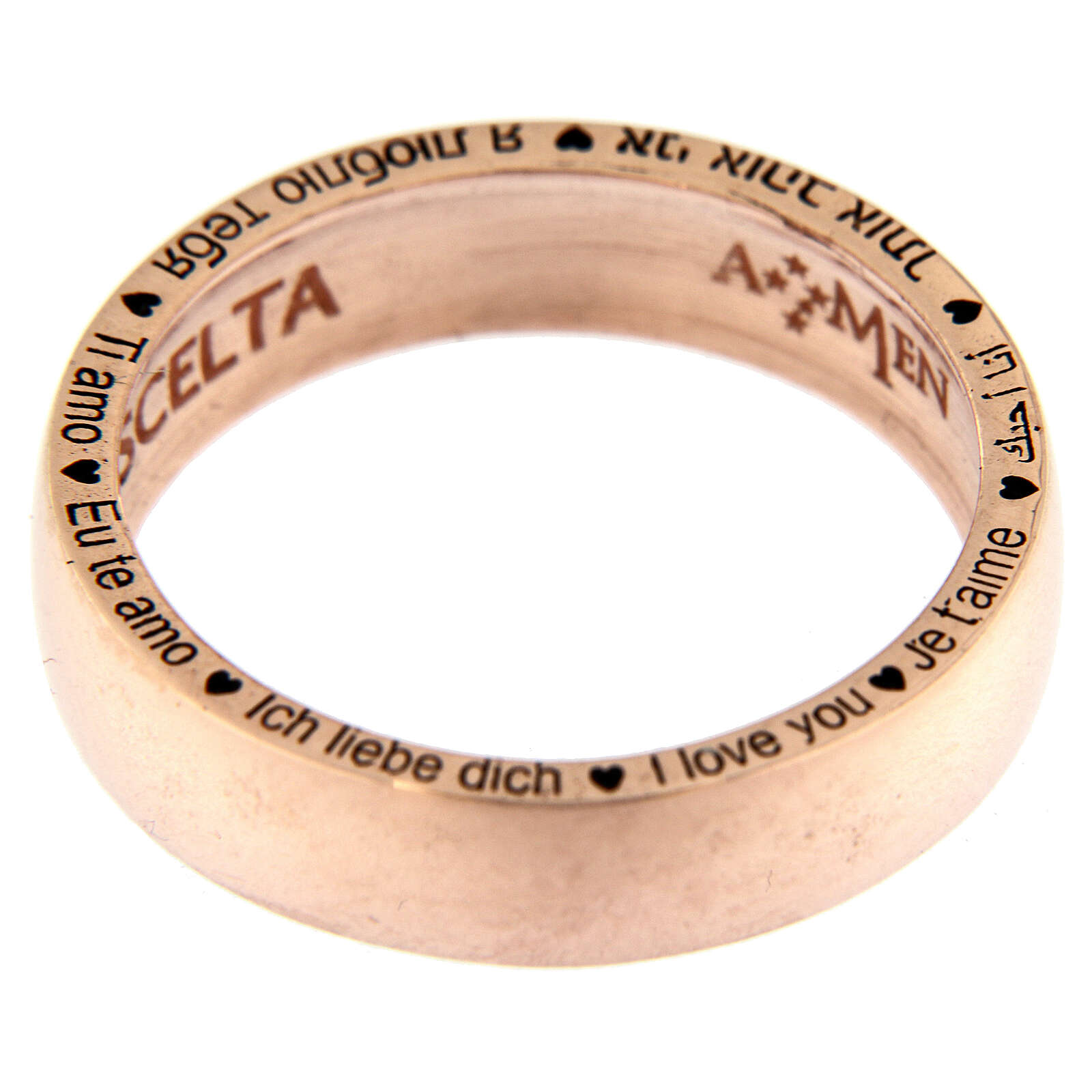 Anel O Amor é uma escolha prata rosé AMEN 3