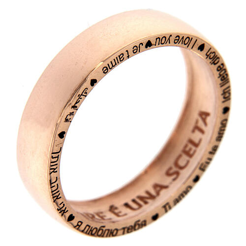 Anel O Amor é uma escolha prata rosé AMEN 1