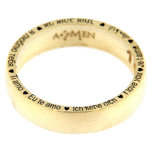 AMEN ring I love you gold plated 925 silver 2
