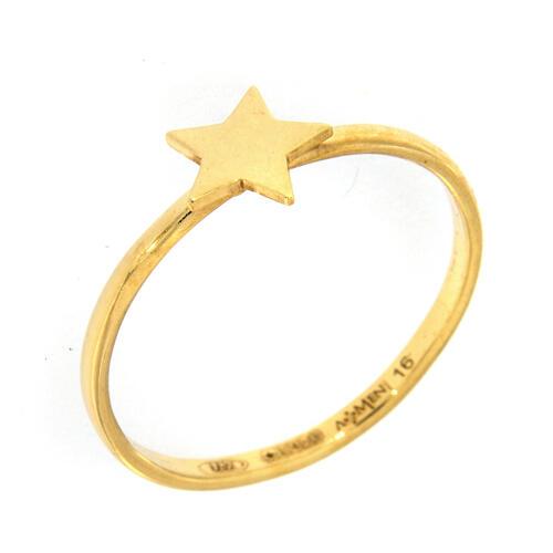 Anello stella argento dorè AMEN 1