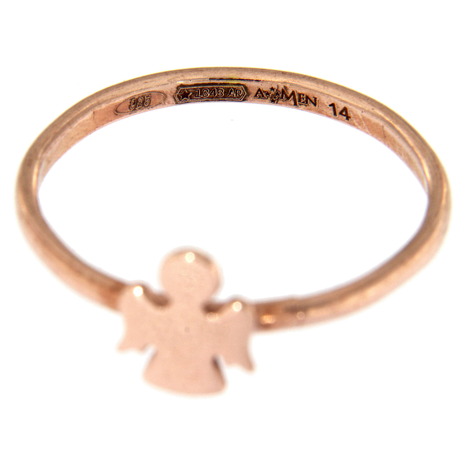 AMEN ring with Angel in pink 925 silver 3