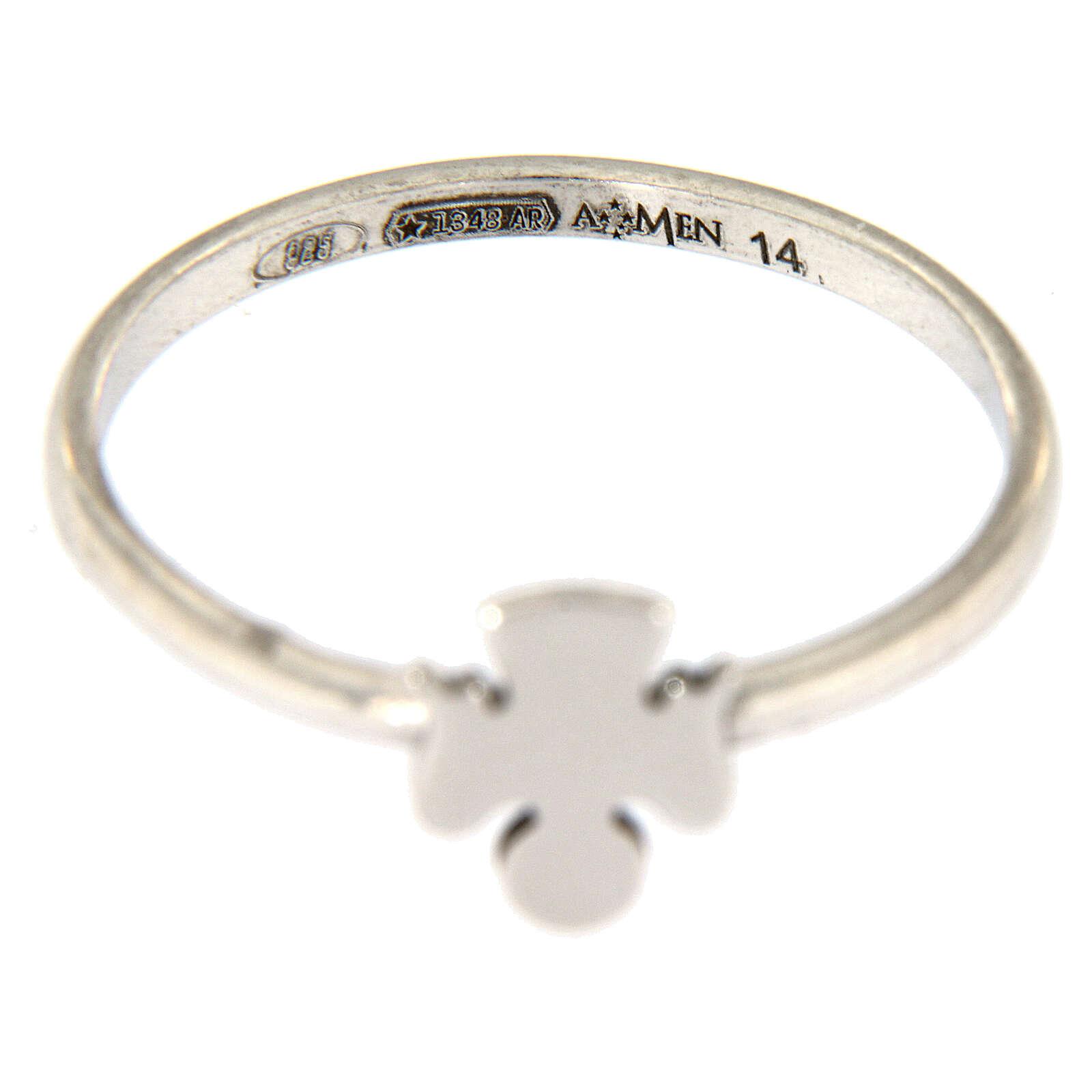 Ring AMEN rodinierten Silber 925 Engelchen 3