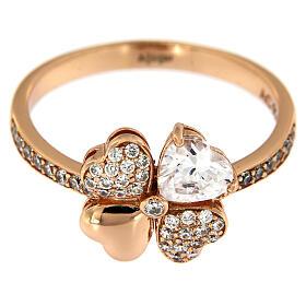 Anello Quadrifoglio zirconi argento 925 rosé AMEN s2