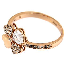 Anello Quadrifoglio zirconi argento 925 rosé AMEN s4
