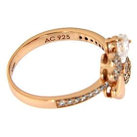 Anello Quadrifoglio zirconi argento 925 rosé AMEN s5