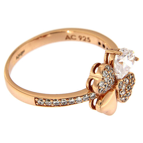 Anello Quadrifoglio zirconi argento 925 rosé AMEN 3