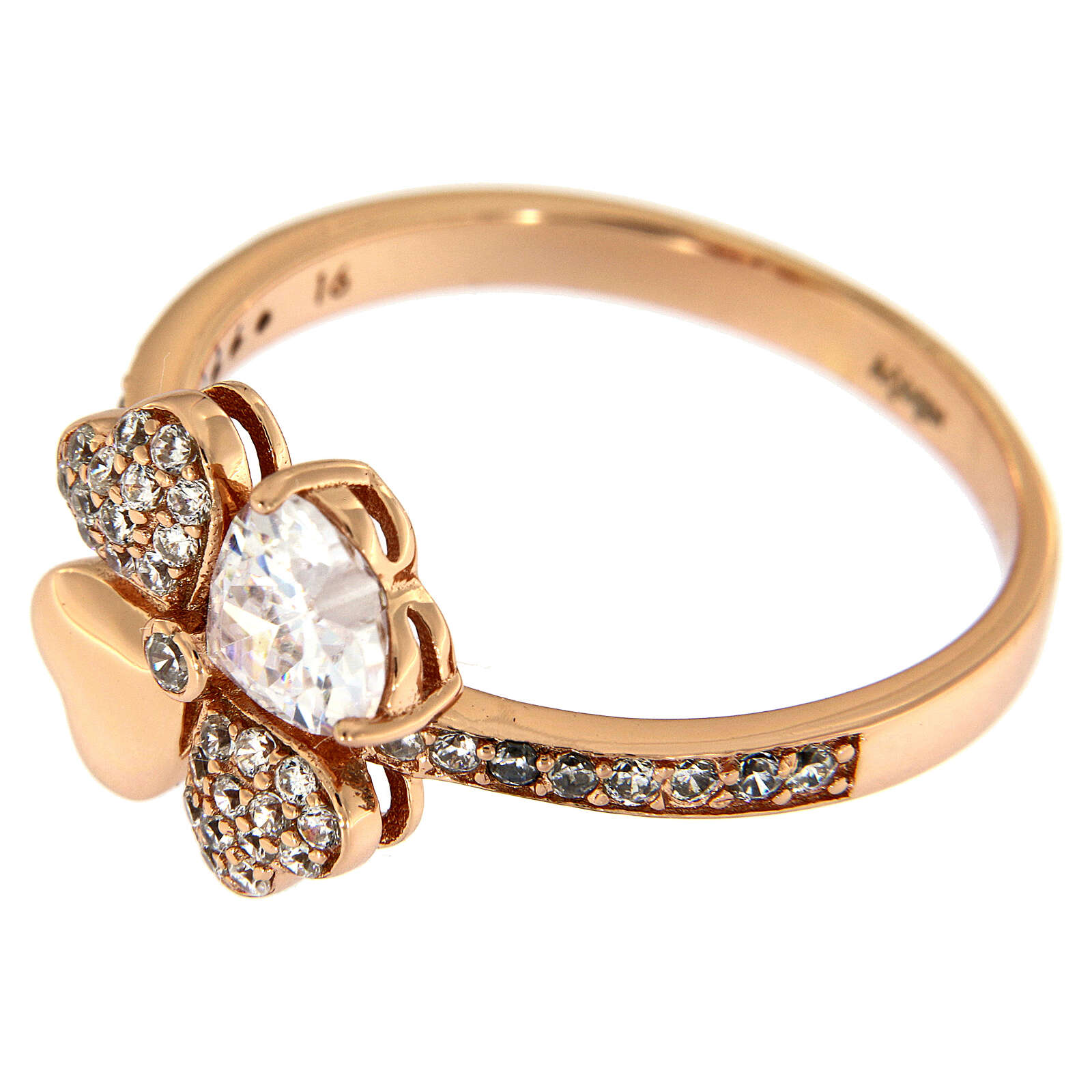 Ring four-leaves clover zircons and 925 rosé silver AMEN 3