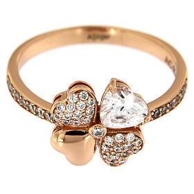 Ring four-leaves clover zircons and 925 rosé silver AMEN s2