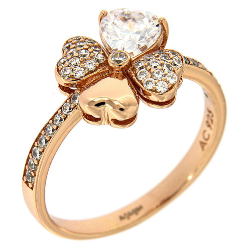 Ring four-leaves clover zircons and 925 rosé silver AMEN 1
