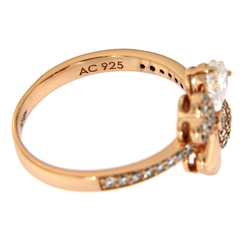 Ring four-leaves clover zircons and 925 rosé silver AMEN 5