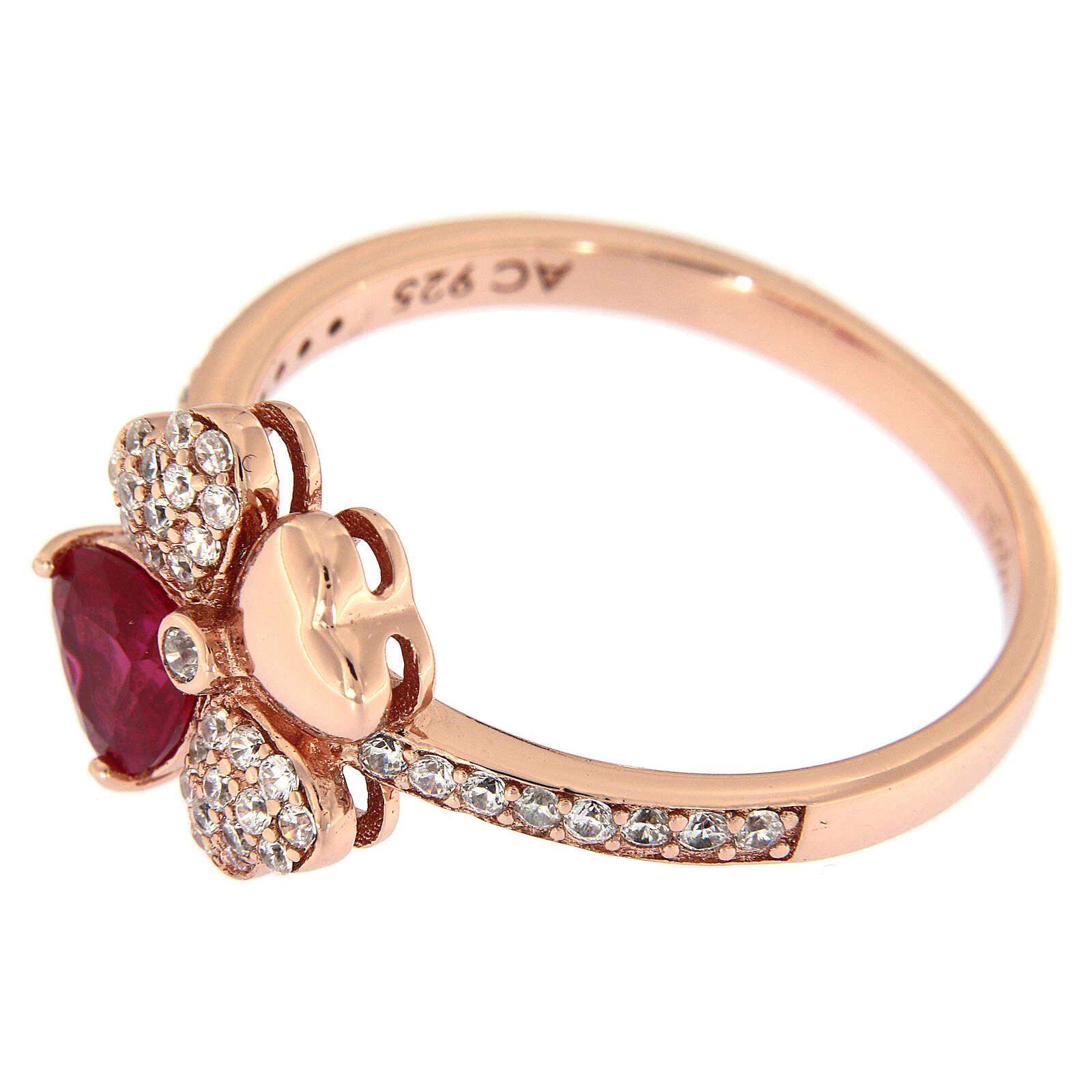 Anillo Trébol de cuatro hojas AMEN plata 925 rosada zircones rubí 3