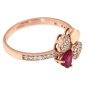 Anello Quadricuore AMEN argento 925 rosé zirconi rubino s3
